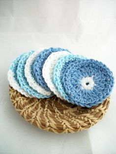 Facial Scrubbies / Set of Seven by peacoxcreations on Etsy, $8.50