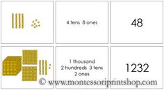 Golden Bead Place Value Cards - Printable Montessori Learning Materials for home and school.
