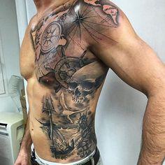 Ideas Tattoo Compass Skull Ink Source by Skeleton Tattoos, Skull Tattoos, Cross Tattoos, Body Art Tattoos, Belly Tattoos, Stomach Tattoos, Dream Tattoos, Badass Tattoos, Tattoo Sleeve Designs