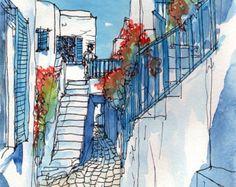 Mykonos Street Blumen Griechenland Kunstdruck aus einem original Aquarell