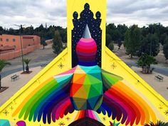 Spanish street-artist Okuda San Miguel gave life back to an abandoned church in Morocco, in the city of Youssoufia, through his latest project titled 11 Mirages Geometric Bear, Geometric Prints, Okuda, Colour Architecture, Urban Street Art, Urban Art, Amazing Street Art, Amazing Buildings, Pop Surrealism