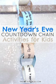 New Year's Eve countdown chain for kids with activities.