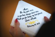 Mother of The Bride Handkerchief  MOB   Thank you by MisterandMrs, $22.95