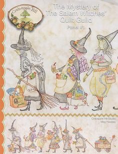 Mystery of the Salem Witches& Quilt Guild Panel : Crabapple Hill crayon tinting hand embroidery patterns Halloween October Autumn by thecottageneedle Hand Embroidery Patterns, Cross Stitch Embroidery, Quilt Patterns, Block Patterns, Applique Patterns, Pattern Ideas, Machine Embroidery, Embroidery Designs, Halloween Embroidery