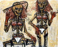 Bernard Buffet  squelettes travestis - 1998  oil on canvas 130 x 162 cm ©ADAGP