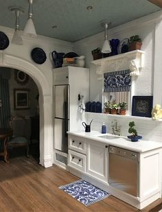 My Miniature Madness: The Creative Process. Kitchen Time, Mini Kitchen, Miniature Kitchen, Miniature Rooms, Square Dinner Sets, Stool Cushion, Small Tiny House, Dollhouse Miniatures, Dollhouse Design