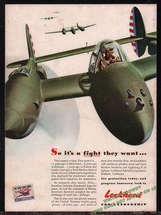 1943 WW II LOCKHEED P-38 Lightning Aircraft WWII WW2 Aviation Plane AD