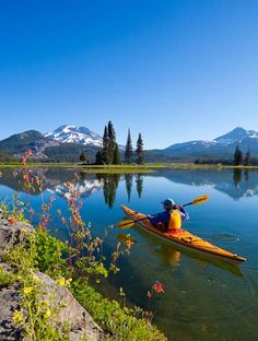 Kayaking on Sparks Lake, Oregon #kayak #kayaker #kayaking