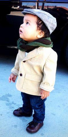 outfit baby junge stylisch herbst schal mütze