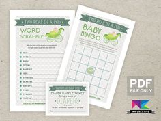 Baby Shower Game Bundle! for Twins! Two Peas in a Pod - Fun, Beautiful & Cheap!