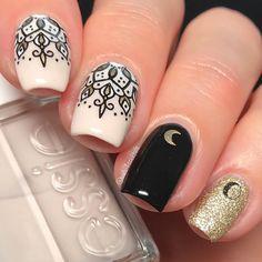 Mandala nails 🌙🖤 #mandala #mandalanails Items use