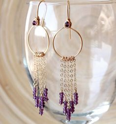 Gold filled Amethyst fringe Earrings Long Prom by EverywhereUR