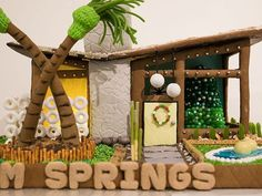 The Palm Springs gingerbread house built by Romy Abraham Easy Gingerbread House, Gingerbread House Designs, Holiday Crafts, Holiday Decor, Palm Springs, Beach Houses, Tiny Houses, Xmas, Architecture