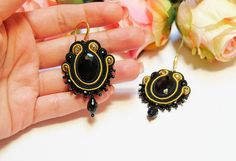 Soutache earrings, Black and Gold Earrings, Statement earrings, Lightweight Earrings, Elegant Earrings, Soutache Jewelry, Ethnic earrings This black elegant earrings are made in soutache embroidery technique. They can be a beautiful gift for somebody special or a new jewelry for your new dress ... The color is combination of black, yellow and gold. They are made with Rayon Soutache, Glass Beads, Acrylic Beads, Seed Beads and Suede on the back. The earrings findings are hypoallergenic… Statement Earrings, Gold Earrings, Soutache Earrings, Acrylic Beads, Embroidery Techniques, Seed Beads, New Dress, Glass Beads, Ethnic