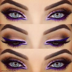 This purple graphic eye by @CarolineBeautyInc is so striking. She used NYX's Extreme Purple Liquid Liner, and added Liquid Crystal Pink Liner for that sparkle.