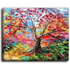 """DiaNocheDesigns 'Story of the Tree 59' by Aja Ann Original Painting on Wrapped Canvas Size: 18"""" H x 24"""" W x 1.5"""" D"""