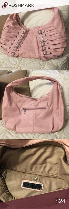"Soft Pink MMS purse Super cute with lots of room! 2 small zippered pockets on the inside as well as a phone pocket. Approximately 18""wide by 10"" tall and 6"" deep MMS Bags Shoulder Bags"