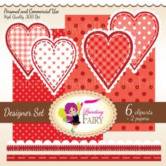 Digital clipart Love elements Lovely Polka dots Hearts Borders Decorative Scalloped strips Love Clipart red clipart Scrapbooking pf00055-2 digital item instant download