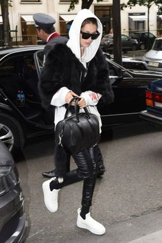 Bella Hadid wearing Givenchy Black Croc Stamped Medium Lucrezia Duffel