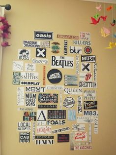 Love this band logo collage idea.