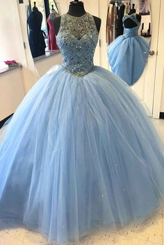 Light blue tulle satin round neck beaded sequins open back ball gown dresses