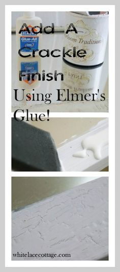 Elmer's glue is a super cheap and very easy way to add an authentic looking crackle finish to any piece of furniture. Let me show you how easy it is. Crackle Paint With Elmers Glue, Crackle Painting, Texture Painting, Do It Yourself Furniture, Elmer's Glue, Furniture Makeover, Painted Furniture, White Lace, Ads
