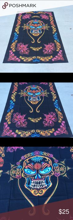 Skull mandala tapestry wall hanging floor spread Make an offer to get good deals! 😃🎊🎁🎉💰  😎Brand new.Handmade with natural dyes.   🤔Uses: bed spread, couch spread, curtains, wallhangings, Celling decor, beach mat, picnic mat, table cloth, 🕉 yoga & 🙏🏻meditation.  📐Size: twin bed)   🎀Material;💯% Cotton  🚿Wash: cold wash  💌➡️Website: http://www.rhyayfashion.com Other
