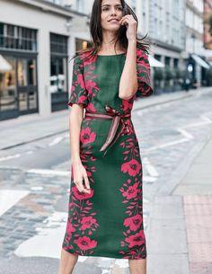 Elspeth Dress (Hunter Green Poppy)