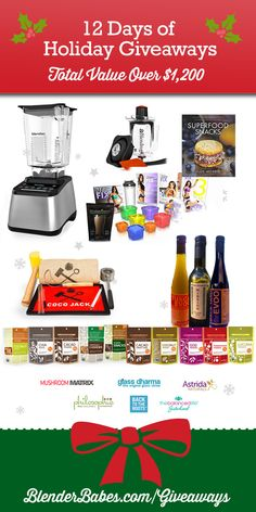 Starting on December 25th, we will give away a prize EACH DAY until January 5th! There will be 12 winners and all prizes have a combined value of over $1200!  Prizes include our Grand Prize – a Blendtec Designer 725 Certified Refurbished Blender + Twister Jar ($669 value), Global Gardens Culinary Oils Trio ($115), Navitas Naturals Baking Gift Set ($90 value), Coco-Jack Deluxe Pack ($89 value), Beachbody 21 Day Fit ($60 value), Mushroom Matrix Immune + Reishi ($50 value) and more!
