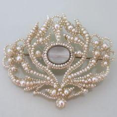 "Antique Georgian Seed Pearl Glass Photo Locket 2.25"" Brooch Pin"