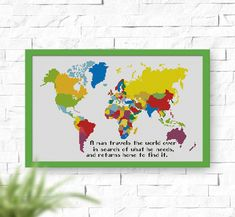 World Map cross stitch pattern, Instant Download, PDF, Quote cross stitch, P104 by NataliNeedlework on Etsy