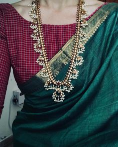 Burgundy Contrast Blouse for Green Silk Saree Indian Attire, Indian Wear, Indian Outfits, Indian Clothes, Indian Dresses, Trendy Sarees, Stylish Sarees, Simple Sarees, Look Fashion