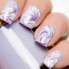 Tulip Nails, Lily Nails, Rose Nails, 3d Nails, Acrylic Nails, Floral Nail Art, White Nail Art, White Nails, Purple Nails