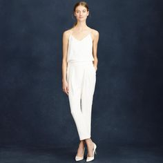 3fa6e2ed0e29 100 White Dresses to Wear to Every Wedding Event via Brit + Co Lace Jumpsuit