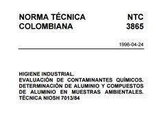 NORMA TÉCNICA NTC COLOMBIANA 3865/EVALUACIÓN DE CONTAMINANTES QUÍMICOS. – SGSST