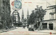 Belleville Paris, St Jean Baptiste, Arrondissement, Saint Jean, Paris Rue, Street View, Architecture, Outdoor, Antique Post Cards