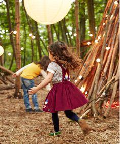 Summer love this Little Bird by Jools Purple Cord Toadstool Trim Skirt