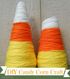 DIY Candy Corn Craft Perfect For Fall!  PLUS I see trees for Christmas, Easter Eggs, Gnome's houses and so much more.