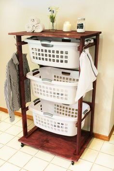 DIY Home Decor Get organized and create your own Rolling Laundry Cart to allow yourself to push around three laundry baskets at once, cutting down on time and labor. Laundry Cart, Laundry Room Organization, Laundry Room Design, Laundry Baskets, Laundry Basket Dresser, Laundry Basket Holder, Rolling Kitchen Island, Diy Home Decor, Room Decor