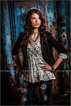 Beautiful Studio Senior Pictures. Love her outfit! #arisingimages #seniors #photography #fashion #girl