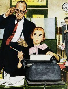 Kod kobiecości w marketingu produktowym Retro Office, Vintage Office, Office Art, Vintage Advertisements, Vintage Ads, 1950s Advertising, Vintage Girls, Magazine Illustration, Vintage Typewriters