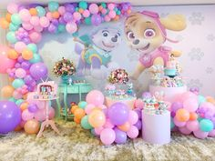 Bewitching Princess Birthday Party Ideas for Busy Moms Girl Paw Patrol Party, Paw Patrol Birthday Girl, Girl Birthday, Princess Birthday, Paw Patrol Party Decorations, Birthday Decorations, Candy Theme Birthday Party, Birthday Parties, Barbie