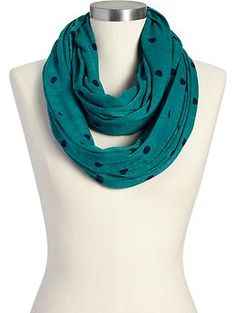 Women's Polka-Dot Jersey Infinity Scarves | Old Navy