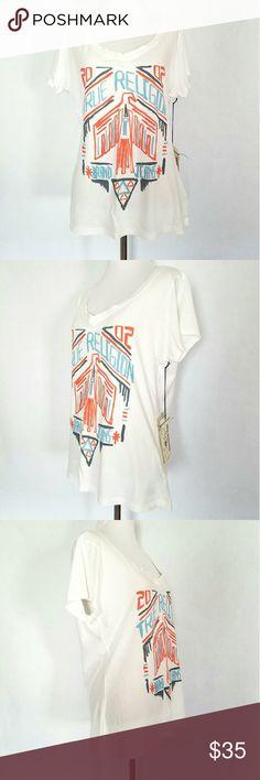 White True Religion Short Sleeve Tee NWT White True Religion short sleeve top with round neckline and tribal design. True Religion Tops Tees - Short Sleeve