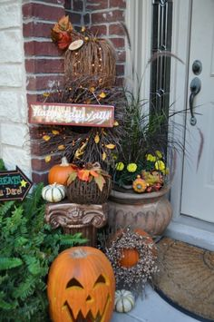 Ready for the Little Goblins!, We dont have Trick or Treat here until the actual Halloween date....Ive gotten the front entryway ready for all the little visitors!  I love decorating outdoors for fall.  Ill miss the color of all the mums when they die out, wont you?!, Porches Design