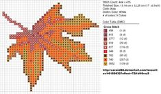 Lovely free Autumn Leaf cross stitch pattern by on deviantART. Cross Stitch Freebies, Counted Cross Stitch Patterns, Cross Stitch Embroidery, Embroidery Patterns, Fall Cross Stitch, Cross Stitch Boards, Pixel Crochet, Flower Outline, Halloween Cross Stitches