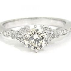 Round art deco antique diamond engagement ring 1.00ct 18k | knrinc - Jewelry on ArtFire