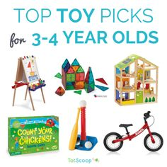 Our editors' favorite toys for 3-4 year olds / preschoolers -- from pretend play to educational toys to games to balance bikes and outdoor play | TotScoop