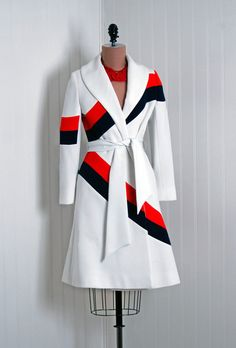1960's Vintage Lilli Ann Designer-Couture Red White Blue Knit-Blend Mod Space-Age Stewardess Wide-Collar Belted Princess Trench-Jacket Coat
