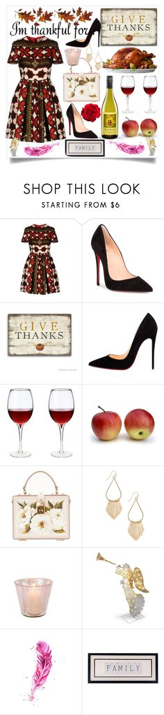 """""""I'm thankful for:"""" by lovelysmilejanel ❤ liked on Polyvore featuring Valentino, Christian Louboutin, Dolce&Gabbana, National Tree Company and thanksgiving"""